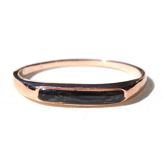 Thin Smooth Band 14K Rose Gold Cremation Ring, Solidified Ashes Jewelry - Pet Cremation Jewelry