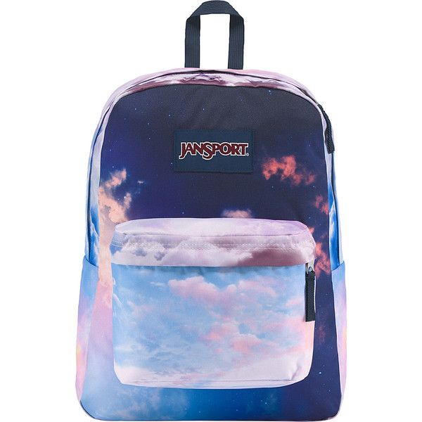 JanSport High Stakes Backpack - Head in the Clouds - School Backpacks (23.960 CRC) ❤ liked on Polyvore featuring bags, backpacks, blue, padded bag, jansport daypack, day pack rucksack, pocket bag and jansport bags