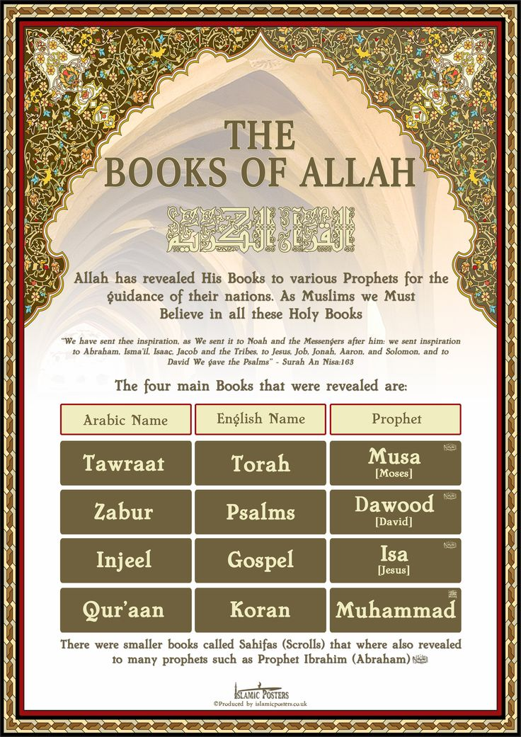The Books of Allah. Qur'an an-Nisa' (The Women) 4:163: Indeed, We have revealed to you, [O Muhammad], as We revealed to Noah and the prophets after him. And we revealed to Abraham, Ishmael, Isaac, Jacob, the Descendants, Jesus, Job, Jonah, Aaron, and Solomon, and to David We gave the book [of Psalms].