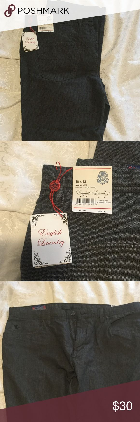 English Laundry men's casual pants new with tags. Never worn English laundry brand men's pants. Size 38×32. Frankly fits more like a 36 waist. New with tags black stripes. English Laundry Pants Chinos & Khakis