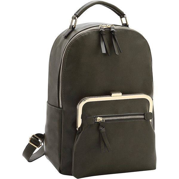 Dasein Twist Lock Pouch Backpack - Army Green - Backpack Handbags (170 RON) ❤ liked on Polyvore featuring bags, backpacks, green, green backpack, olive green backpack, mini rucksack, day pack backpack and army green backpack