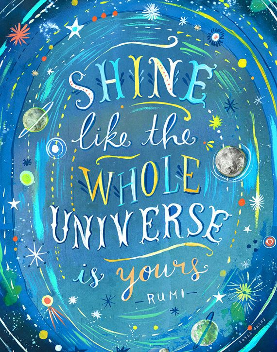 Universe Art Print Watercolor Quote Inspirational Print