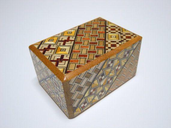 Japanese Puzzle box (Himitsu bako)-2.9inch(73mm) Open by 5steps Yosegi