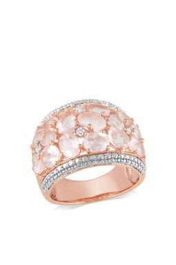 Oval Rose Quartz & Diamond Cluster Textured Ring. I love it !