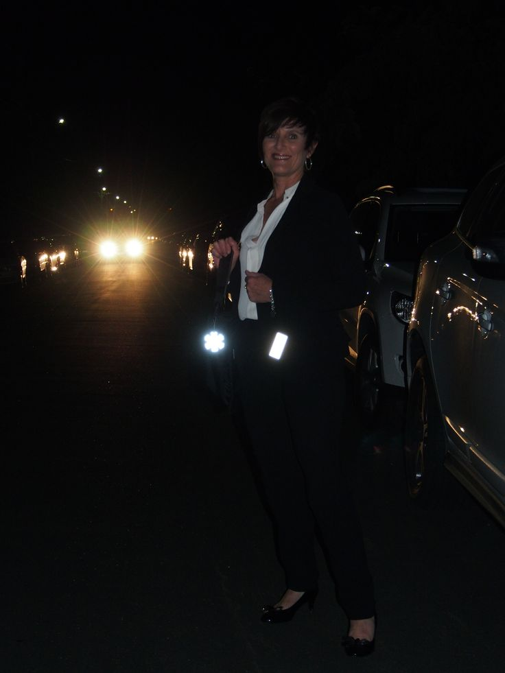 Amazing Ann after work. Our corporate friends feel it is always safer to cross the street with a reflector.