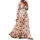 """Amazon Angebote """"Sommer"""" Kleider Damen Dasongff Frauen Retro Kleider Print Floral V-Ausschnitt Langarm Blumen Aufdruck…%#Quickberater%"""