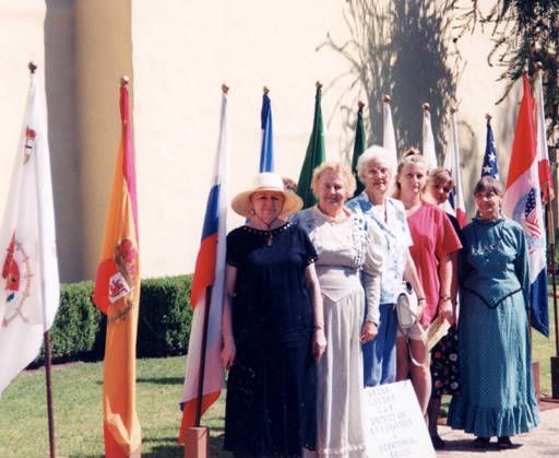 This photograph shows the local Daughters of the American Revolution (DAR), the California State Society Daughters of the American Revolution (CSSDAR) and the Children of the American Revolution (CAR) at the San Fernando Mission celebrating the Mission's bicentennial in 1997. San Fernando Valley Genealogical Society. San Fernando Valley History Digital Library.