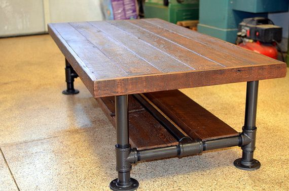 "Industrial Barnwood Coffee Table with Steel Pipe Legs with Lower Wood Shelf. Top 30""W x 60""L  x 18""T on Etsy, $799.00"