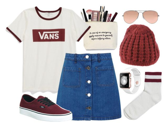 """""""Maroon 🇱🇻🇱🇻"""" by lozforlife on Polyvore featuring Vans, Miss Selfridge, Cappellificio RP, Monki and Ray-Ban"""