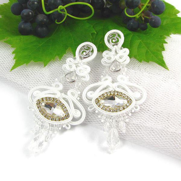 #bridal #set #jewelry #wedding #bride #earrings #swarovski #soutache  www.pillowdesign.pl