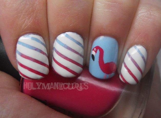 Striped Flamingo Nails: Nails Art, Father Day Nails, Flamingos Manicures, Pink Flamingos, Stripes Flamingos, Hair Make Up Nails Ect, Holy Manicures, Flamingo Nails, Flamingos Nails
