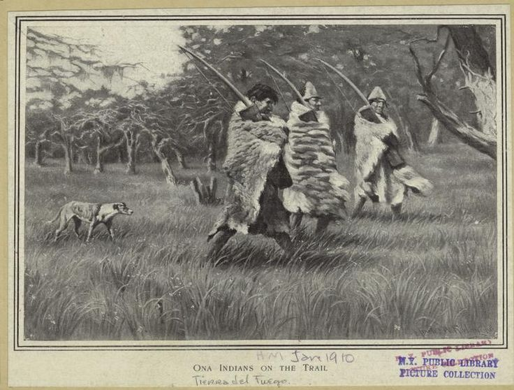 """Ona Indians on the trail"" - Drawing by Charles Wellington Furlong, ca. 1908 (pub. 1910) - Tierra del Fuego, South America - New York Public Library Digital Collection"