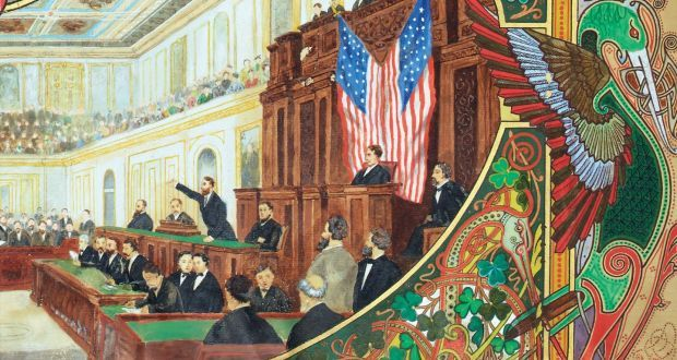 """Charles Stewart Parnell addresses a joint session of the US Congress in 1880. For all its significance – and despite the return of famine and violence to beleaguered rural Ireland in the late 1870s – Parnell's speech was moderate and deferential. He described """"the sufferings of the Irish people"""", the New York Times reported, and took pains to avoid poisoning relations between the US and Britain"""