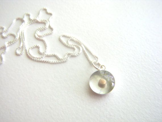 mustard seed necklace - teeny tiny round sterling silver resin mustard seed necklace