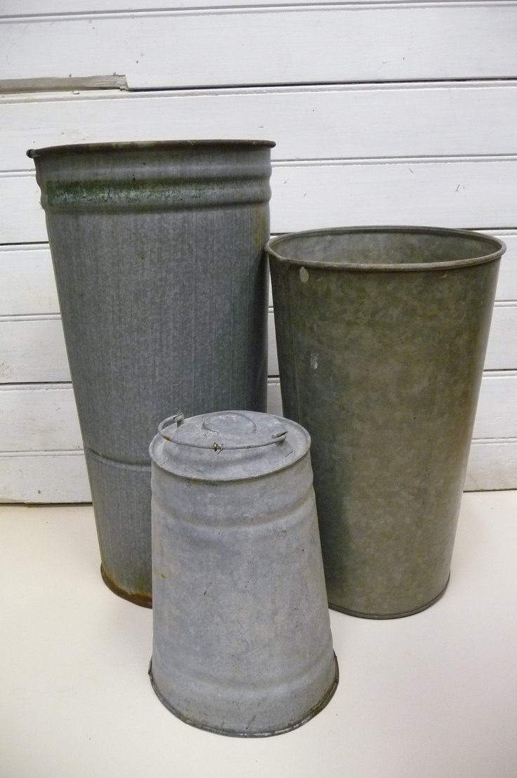 Vintage Galvanized Metal Fence Top Finial Fence Post: 3 Sap Buckets Vintage Galvanized Metal Farmhouse Three