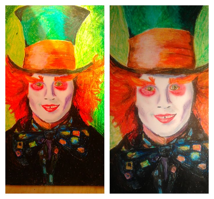 mad hatter - alice in wonderland - oil pastel (one of my favourite works)