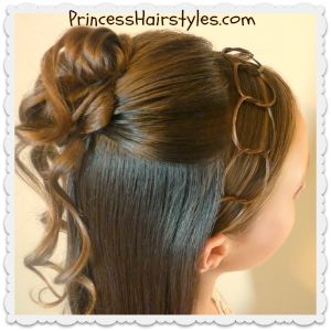 Cascading curls and chains half up hairstyle, video tutorial