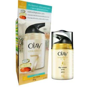 ของดี  Olay Total Effects 7 in one Gentle Day Cream SPF15 50 g.โอเลย์บำรุงผิวหน้าผสมสารป้องกันแสงแดด  ราคาเพียง  475 บาท  เท่านั้น คุณสมบัติ มีดังนี้ ผ่านการทดสอบโดยผู้เชี่ยงชาญด้านผิวหนัง ลดเลือนริ้วรอยบางและรอยเหี่ยวย่น ให้ผิวเรียบเนียนและรูขุมขนแลดูเล็กลง บำรุงและเติมความชุ่มชื่นให้แก่ผิว SPF15 ปกป้องผิวจากรังสี UVA/UVB