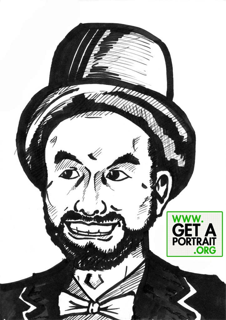 Portrait of a happy beardy gentleman with hat — Get a high quality PORTRAIT or CARICATURE from a pro, for an unbeatable price! http://GetAPortrait.org