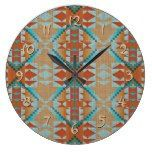 Orange Brown Turquoise Blue Eclectic Ethnic Look Large Clock  #blue #Brown+ #Clock #Eclectic #Ethnic #Large #Look #Orange #RusticClock #Turquoise The Rustic Clock