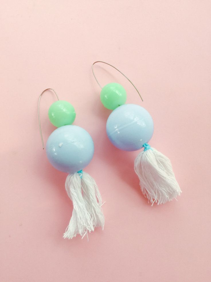 mint and purple pastel bauble drop earrings with cotton tassle and surgical steel hooks- festival earrings by ReneeMiami on Etsy https://www.etsy.com/au/listing/469598164/mint-and-purple-pastel-bauble-drop
