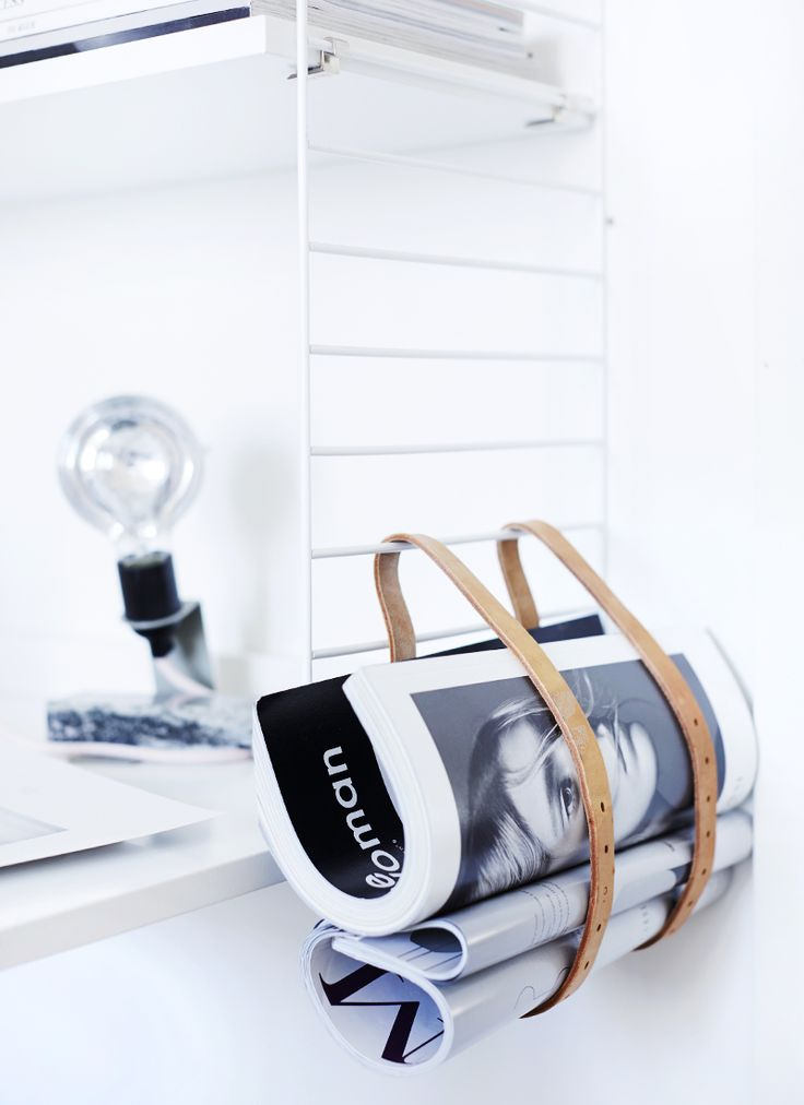 DIY + Upcycle + Leather Belts as magazine holder..easy! Modern + Industrial + Rustic Cabin Home Decor