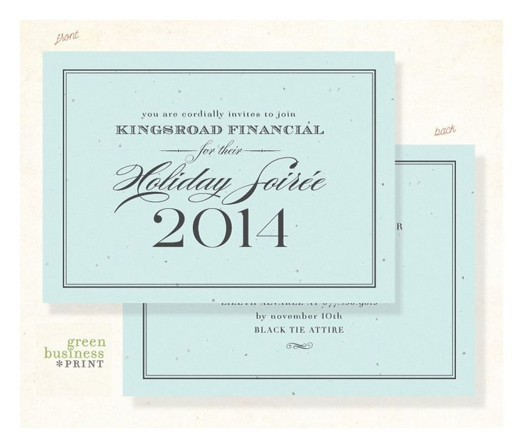 Plantable Gala Invitations - Formal Financial by Green Business Print