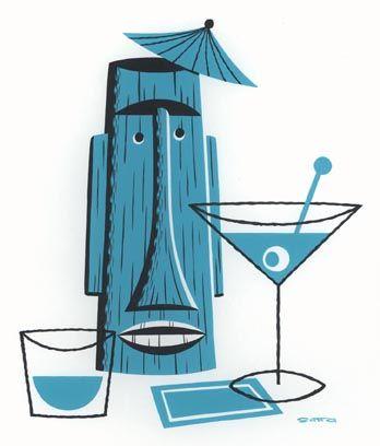 Tiki Still Life With Blue Cocktail Napkin and Martini