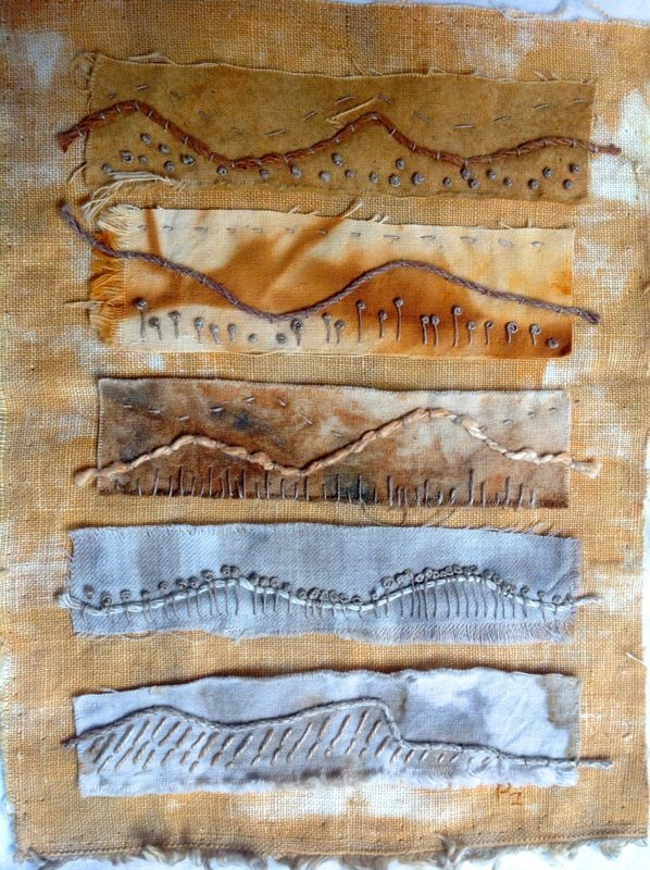 Pauleen McK's stitching with a variety of rust dyed fabrics