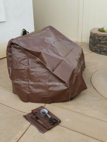 DIY patio furniture covers! Cheap with only Costco tarp and duct tape!