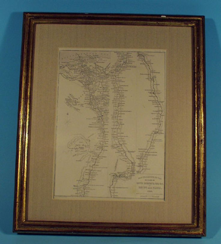 "An original antique etching print: ""Map to Illustrate the Sketches of David Roberts, Esq: R.A. in Egypt and Nubia. 1849"" With notations to mark where specific sketches were made."