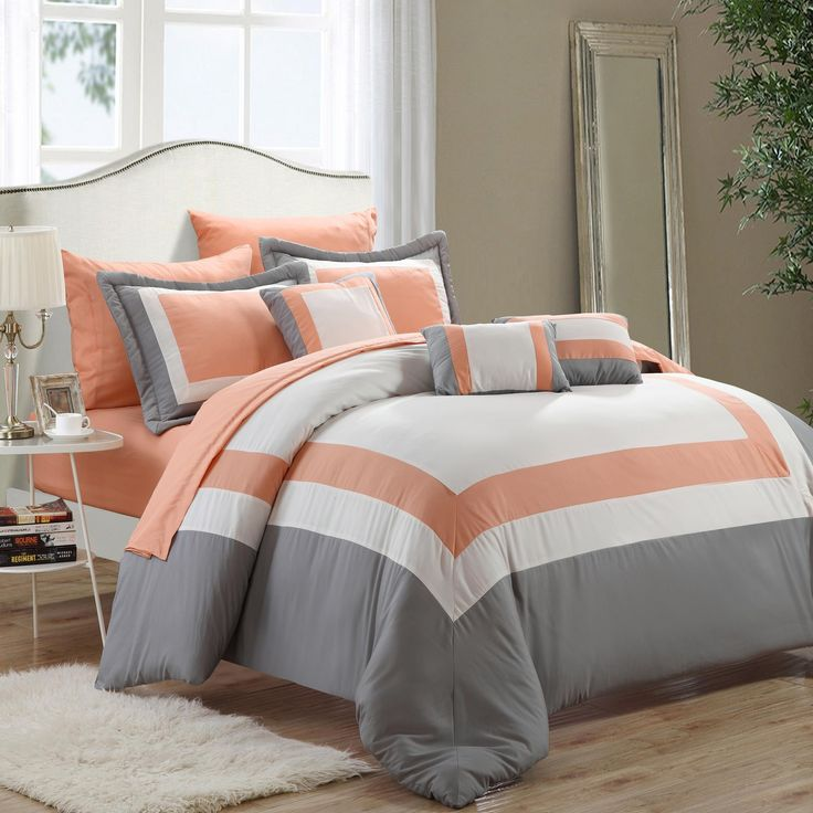 Duke Peach, White U0026 Grey 10 Piece Comforter Bed In A Bag Set