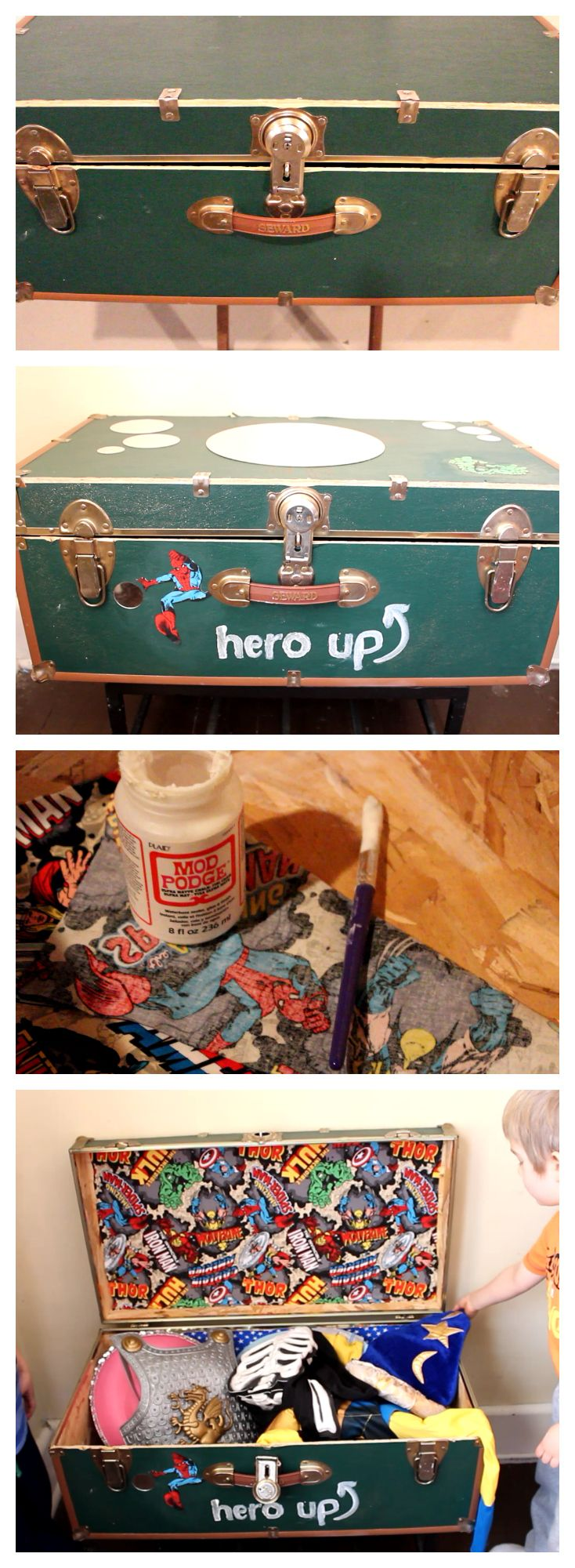 """""""Hero Up"""" Dress Up Station for Boys. Its an old upcycled stream trunk with super hero fabric lining and mirror decals on top. A super simple way to organize your super hero costumes."""