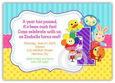 BabyFirstTV First Birthday Invitation Horizontal Frame<br>Peek-a-Boo VocabuLarry, Notekins FOR GIRLS