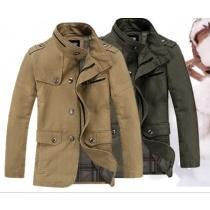 Buy Army Green Pockets Cotton Casual Men Fashion Standm