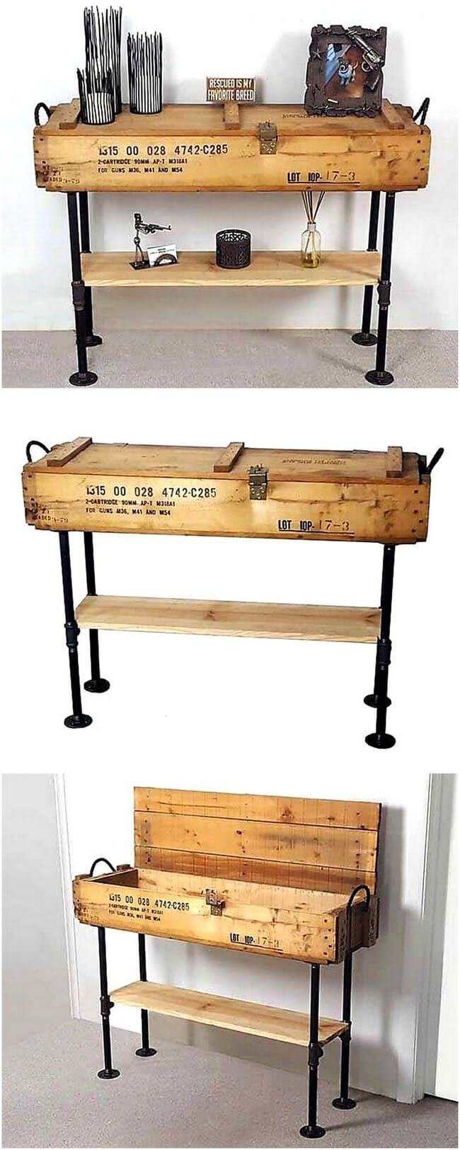Look at this remarkable and incredible pallet wood entryway table. This pallet wood table lends your interior an awesome piece of vintage art. These black iron pipe legs are complementing the rustic look of wood and enhancing the image. The table top serves as a storage box which adds to its utility.