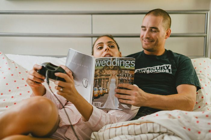 8 Unique #Engagement Photo Ideas - love the idea of looking at #wedding magazine to announce engagement.
