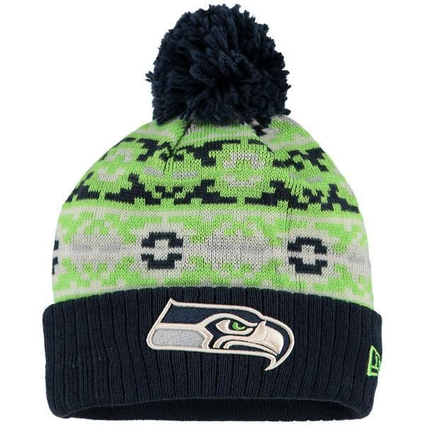 Mens/Womens Seattle Seahawks New Era Fashion 2016 Navy Retro Chill Cuffed Knit Pom Beanie Cap - Green / Navy