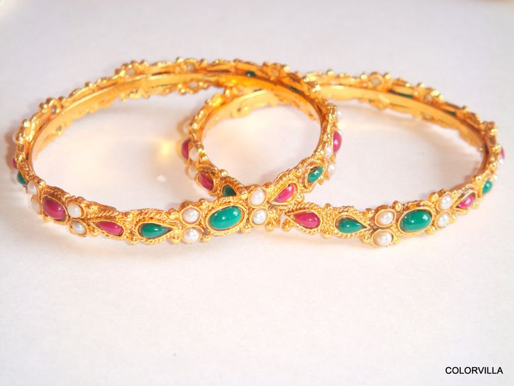 Christmas Super Sale Ethnic Traditional Indian 24k Gold plated Bangles for Women Studded with green emerald hydro red ruby hydro and pearl by colorvilla on Etsy
