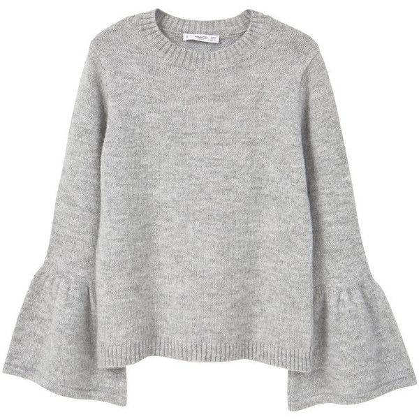 MANGO Flared Sleeves Sweater ($50) ❤ liked on Polyvore featuring tops, sweaters, chunky cable knit sweater, round top, cable-knit sweater, long sleeve cable knit sweater and cable sweater