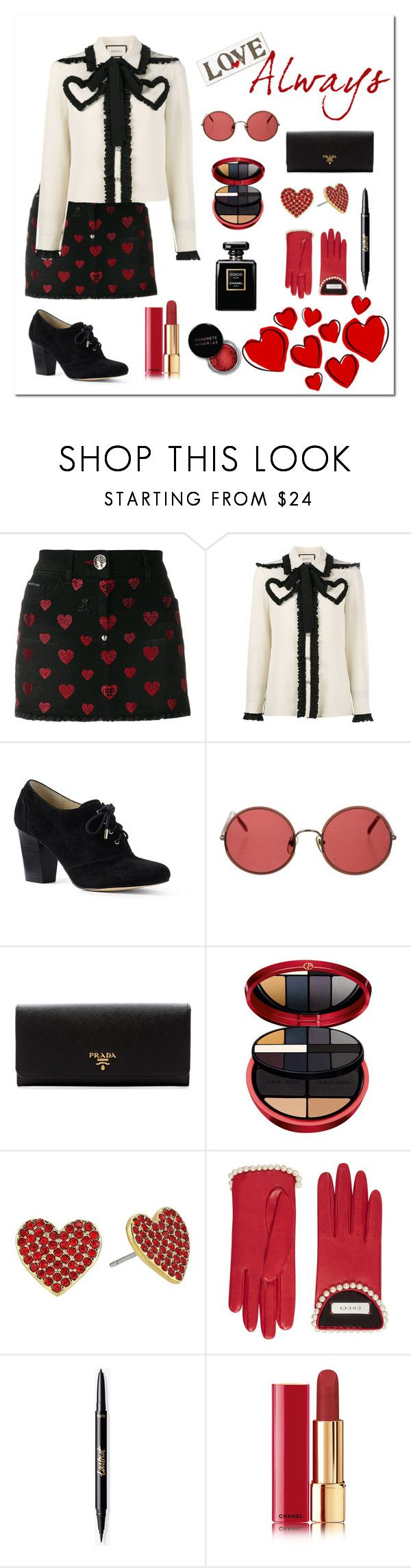 """Valentine's Day"" by cafoxx ❤ liked on Polyvore featuring Philipp Plein, Gucci, Lands' End, Sunday Somewhere, Prada, Armani Beauty, Kate Spade, Chanel and Concrete Minerals"