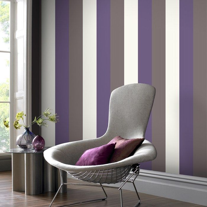 25 best ideas about purple striped walls on pinterest for Striped wallpaper living room ideas