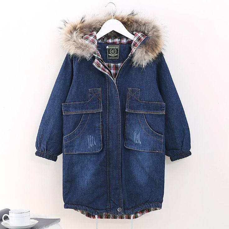 Модный большой для девочек подростков Джинсовая Верхняя одежда детские зимние пальто с капюшоном детская теплая внутренняя джинсовая куртка для девочек толстые длинные одежды купить на AliExpress