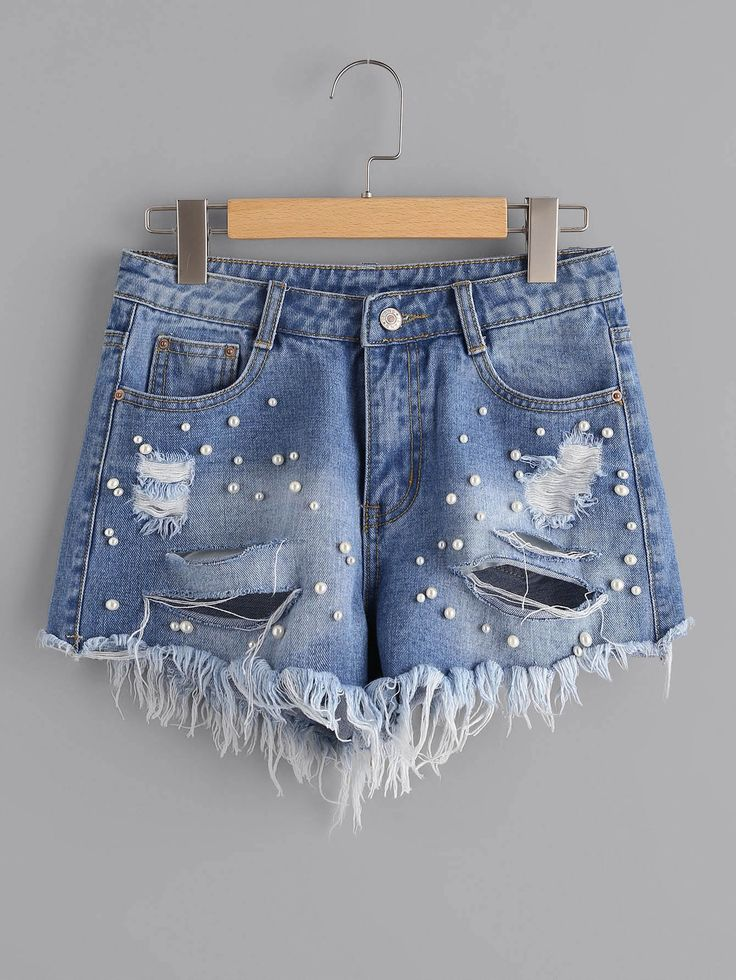 Shop Faux Pearl Beading Distressed Denim Shorts online. SheIn offers Faux Pearl Beading Distressed Denim Shorts & more to fit your fashionable needs.
