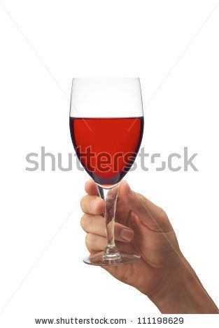 Man's hand with glass of red wine isolated on white background - stock photo