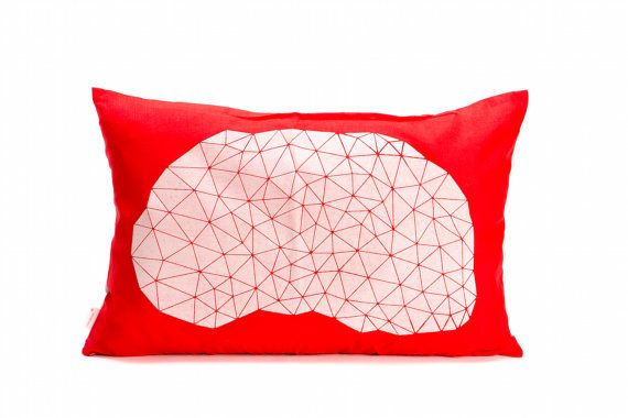 Red and white rectangular pillow cover 55x40 cm by mikabarr