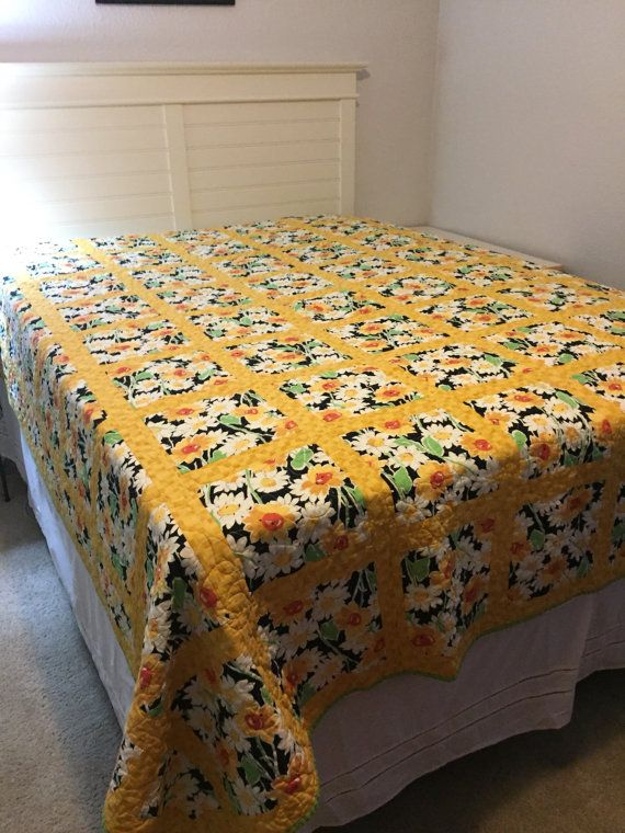 Beautiful yellow quilt bright and sunny  by WoolenWondersbyEllen
