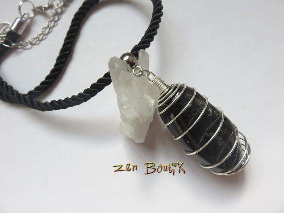 Collier Onyx Agate Noire grande taille forme libre par ZenBoutik