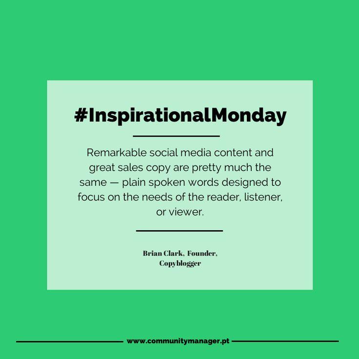 É cada vez mais importante partilharmos conteúdo de qualidade. Conteúdo que nos ajuda a ganhar mais seguidores e pode ajudar uma empresa a crescer. Mas o que podemos considerar um bom conteúdo? #InspirationalMonday #MarketingQuotes
