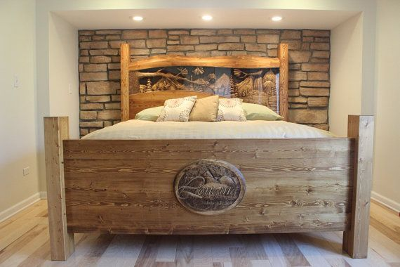 Rustic Nature Lovers Bed, Headboards & Footboards, Anniversary Gift for him and her. Hand Carved by Scott, Lazy River Studio on Etsy, $5,500.00